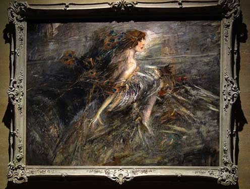Marchesa Casati with peacock pens Giovanni Boldini 1914