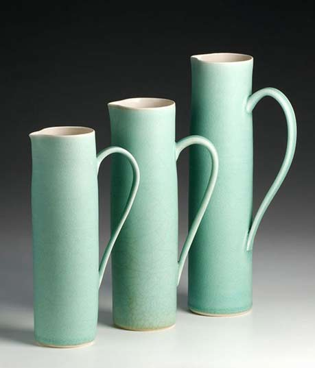 Three-porcelain mint green -jugs--Emily-Myers