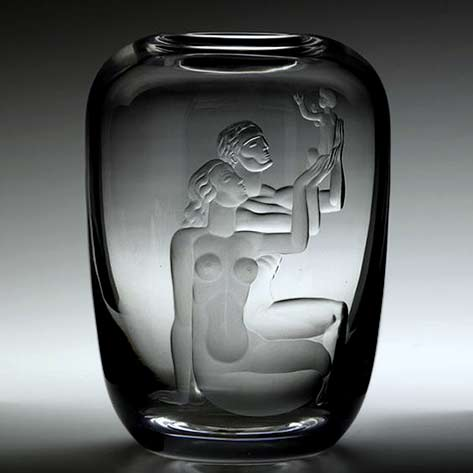 Vicke Lindstrand;-Etched Glass Family Vase for Orrefors,-c1937