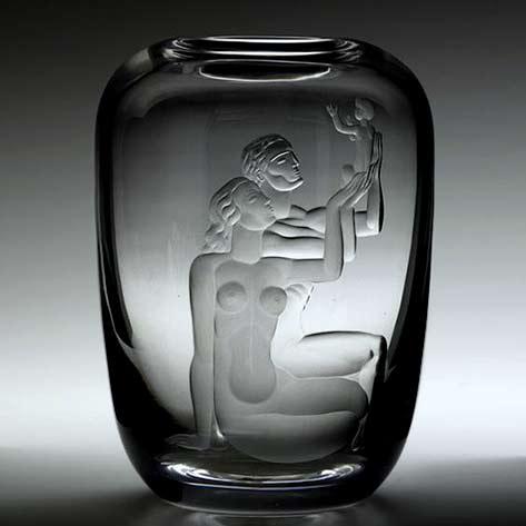 Vicke Lindstrand;-Etched Glass Family Vase for Orrefors,-c1937