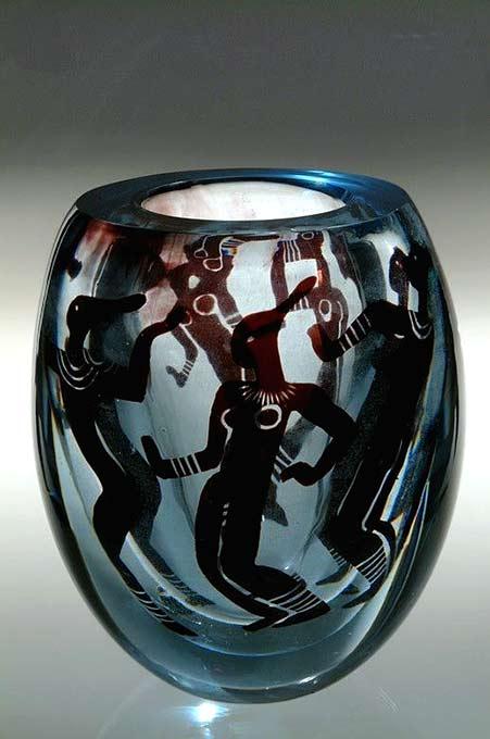 Vicke-Lindstrand--Orrefors,-'African-Dancers'-Graal-Glass-Vase