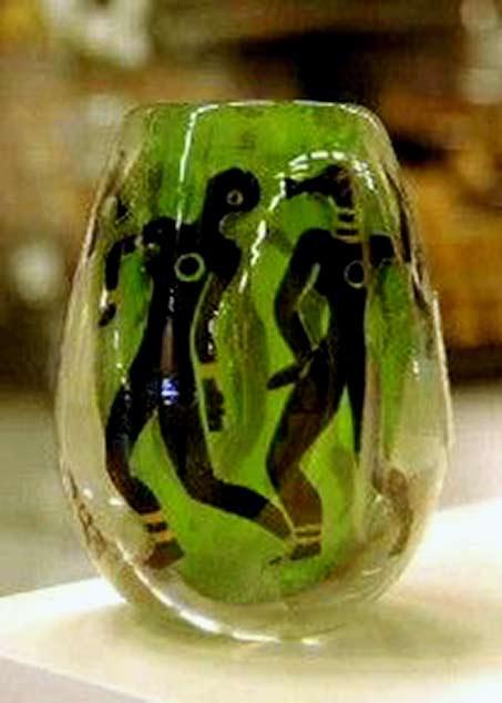 Vicke-Lindstrand - -Orrefors,-Graal-Glass-Vase Tribal Dancers