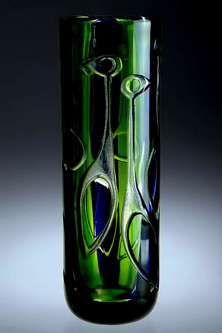 Vicke-Lindstrand-green Vase-cylindrical shape and abstract figure motifs