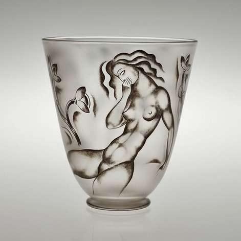 Vicke Lindstrand (airlines, 1904-1983), Orrefors, Enameled Glass Vase.