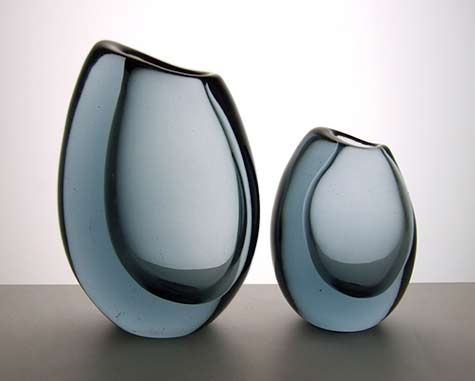 Vicke-Lindstrand-for-Kosta-1958-Twilight Blue vases
