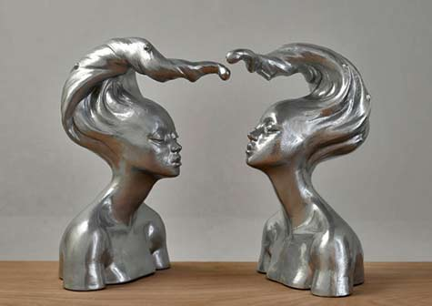 Yume'--In-Silver-Beverly Morrison Two female busts