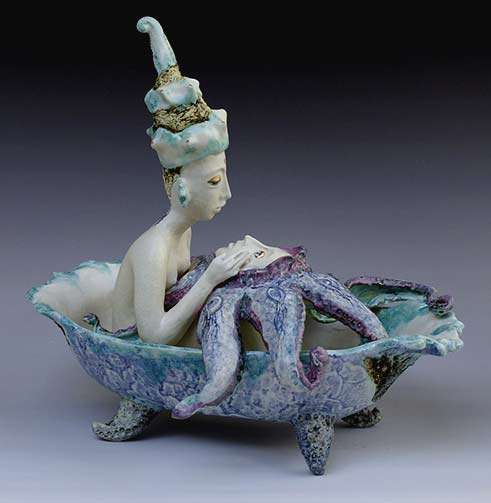 morning_melts - Natasha-Dikareva ceramic figure in a bath