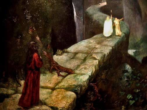Oil on Canvas of Mariano Fortuny, Parsifal, the ascent to the Grail