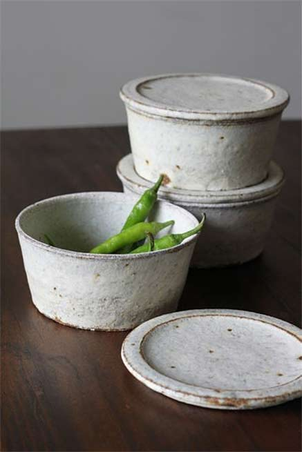 Lidded-ceramic-bowls and green chilis