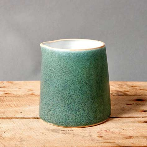 green milk pitcher - studio pottery danish handmade by northvintage