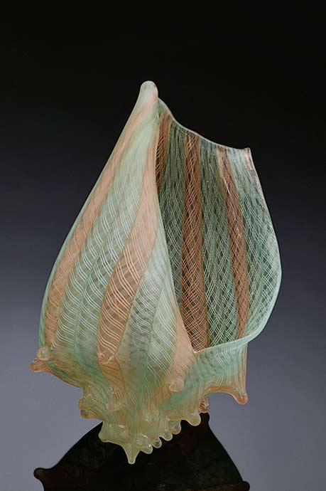silkwood-glass-sculpture with etched pattern