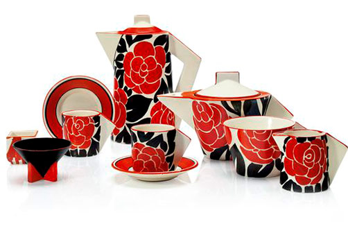 Clarice-cliff-six-piece-tea-and-coffee-service-In-the-'Latona-Red-Roses'-pattern