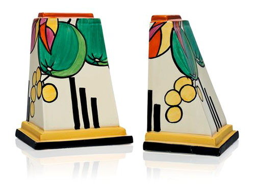 Clarice Cliff pair-of-clarice-cliff-bookends-In-the-'Fantasque'-'Apples'-pattern