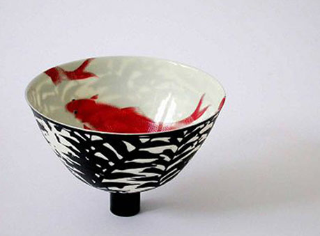 Anima-Roos-footed ceramic-red koi bowl