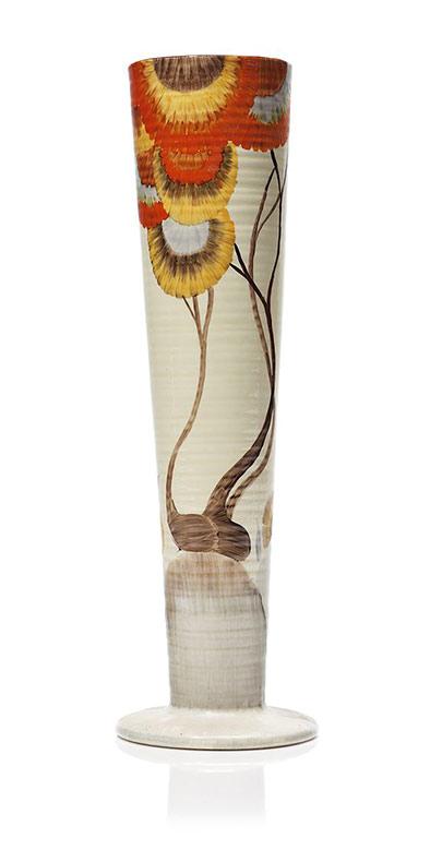 CEramic vase 'Bizarre'-'Rhodanthe'-pattern,---Clarice-Cliff