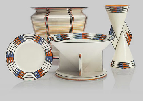 Clarice Cliff jardiniere in the 'Bizarre' 'Tartan' pattern, the 'Latona' 'Aztec' wares comprising a yo-yo vase shape