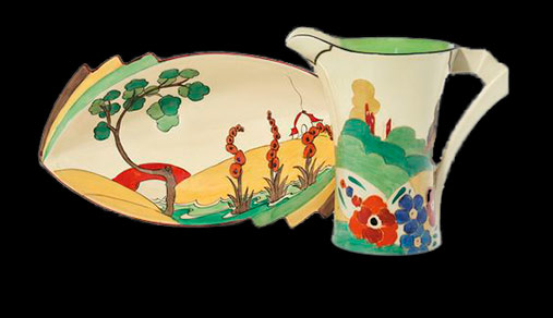 Clarice Cliff-centerpiece-bowl-and-pitcher-The-bowl-in-the-'Bizarre'-'Bridgewater'-pattern,-shape-475,-the-pitcher-in-the-'Fantasque-Alton'-pattern,-Daffodil-shape-12