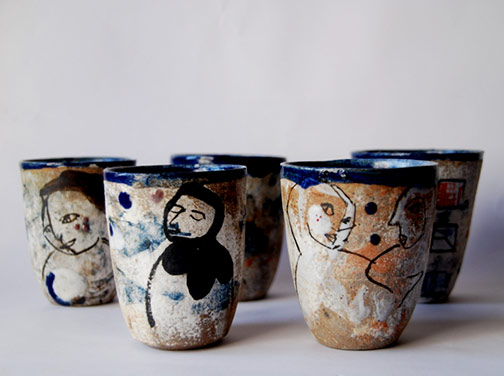 'Elodie-Chenu----five ceramic cups