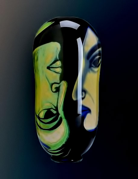 Glass vase with two faces Eva-Englund