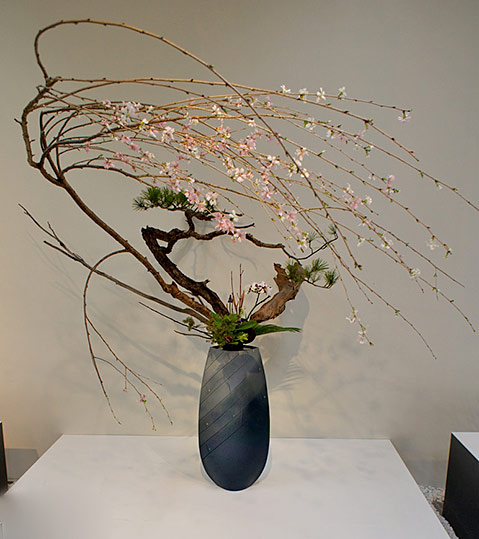 Ikenobo arrangement with wonderful pink blossoming flowers-(Otomodachi)