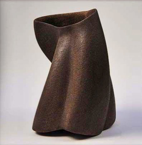 James-Oughtibridge-Chocolate-Brown-creased Vase