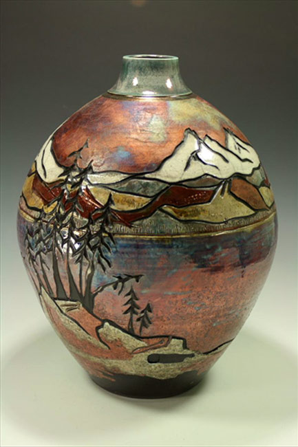 Raku-Vase-Mountain-carved---Blue-Spruce-Pottery