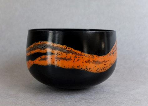 Suzy-Balkert--terra-sigillata-bowl. orange and black glaze