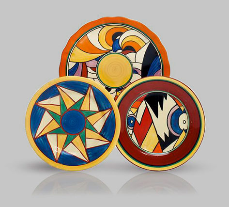 Three-art-deco-clarice-cliff-plates---In-the-'Bizzare'-'Lightning',-'Original-Bizarre'-and-'Bizarre'-'Swirls'-patterns