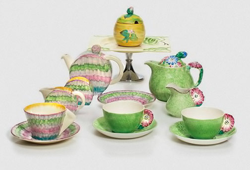 two Clarice Cliff tea sets,-a-jam-pot-and-cover,-and-a-cake-stand