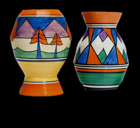 2-Clarice-Cliff-vases-In-the-'Original-Bizarre'-pattern,-shape-360-and-the-'Bizarre'-'Luxor'-pattern
