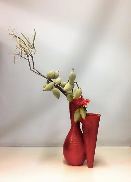 Woody-Pear-and-Ixora-Pats-Ikebana-2016 Pat Mackie ikebana