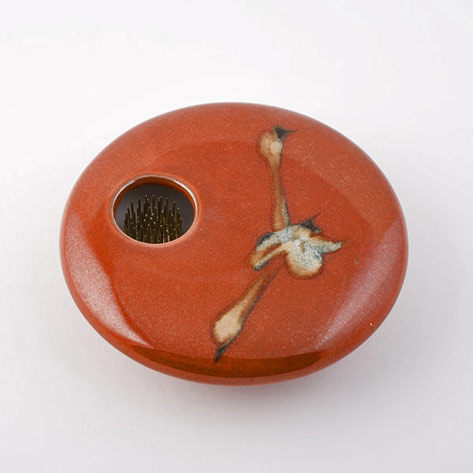 Burnt orange ikebana-vase-red-zen-georgetown-pottery-