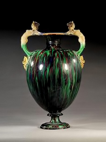 A-Minton-attributed-majolica-two-handled-vase, with arched mermaid handles