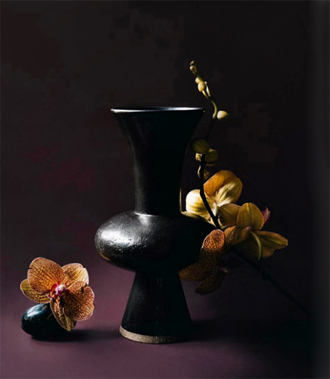 Black-trumpet-vase-with orchids -- Nicolette-Johnson