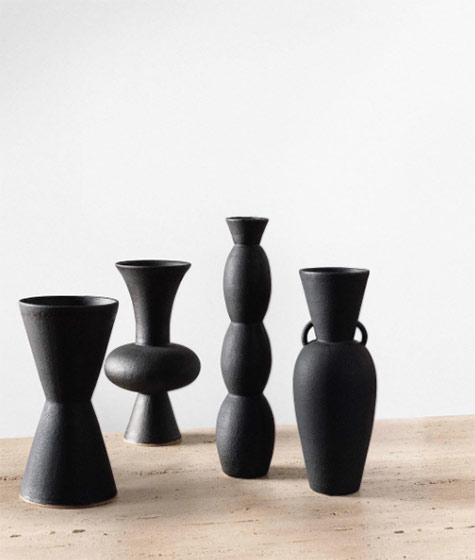 black volcanic-rock inspired vases