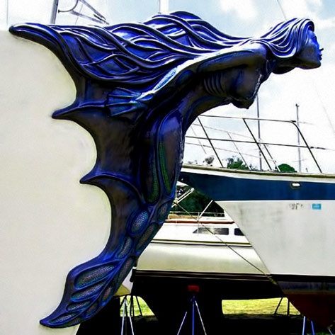 Lifesize Blue Mermaid Figurehead sculpture on bow of ship
