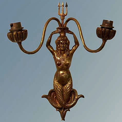 Mermaid sculptural Shaped Solid Patinated Bronze Sconce, France, 1950s