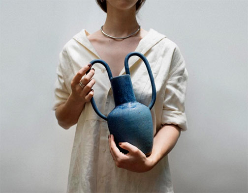 Nicolette-Johnson-blue twin handled-vase