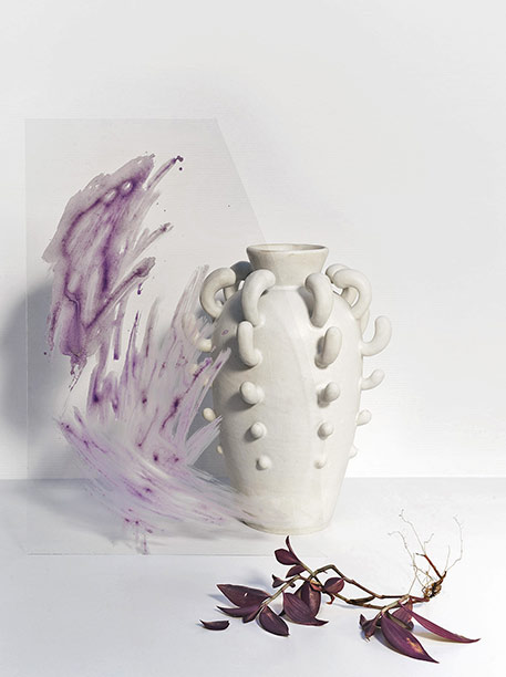 Small White sprouting vase --Nicolette-Johnson