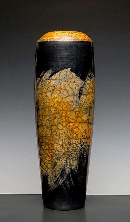 Yellow-vase-raku-pottery-Philippe-Buraud-ceramist