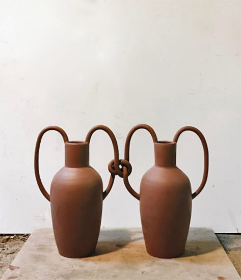 cojoined-vases with knotted handles-Nicolette-Johnson