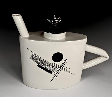 constructivist black and white teapot