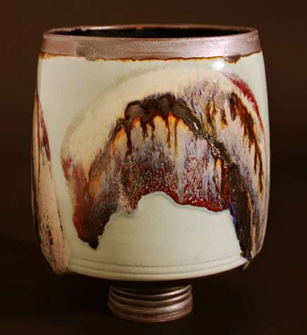 Peter Cockram footed porcelain cup - British pottery