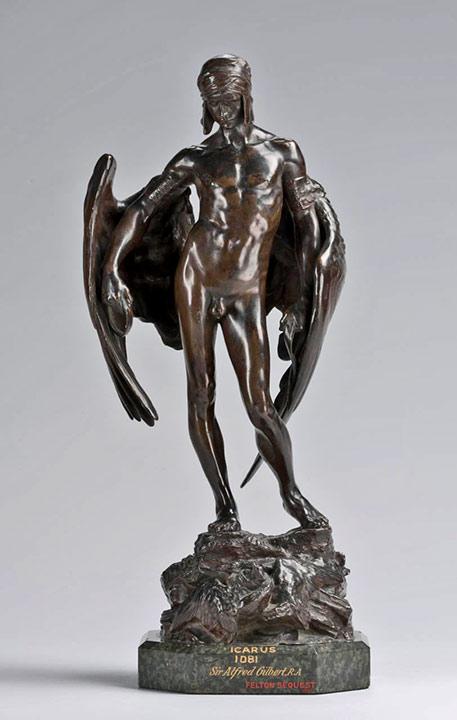 Alfred-Gilbert-Icarus---c1889 bronze male figure statue
