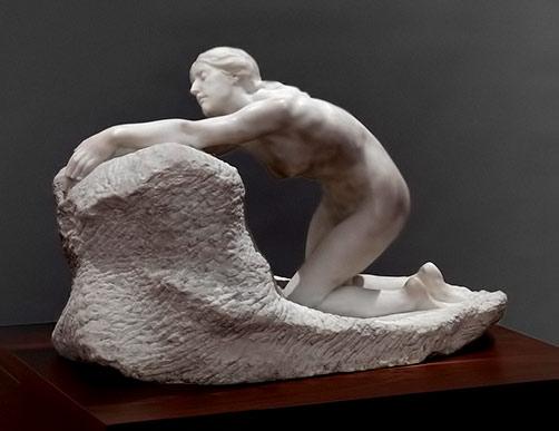 Ariadne - kneeling nude female sculpture --Harold-Parker--1919