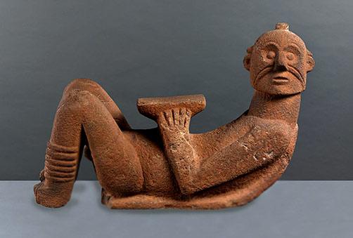 Terracotta reclining figure sculpture - Chacmool--Toltec,-Tzintzuntzan,-Michoacin-1200AD