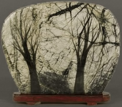 Chinese Dream Stone painted with a woodland scene on a veined green stone,-12-tall-The Cobb auctioneers