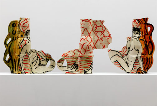 David-Kordansky-Gallery--BEtty-Woodman sculptured pottery