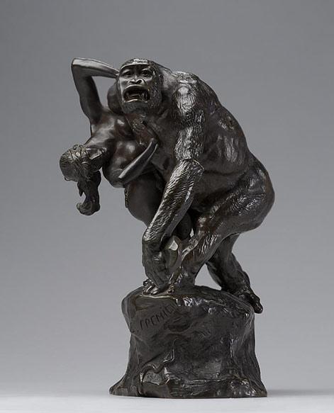 Gorilla-carrying-off-a-woman---(Gorille-enlevant-une-femme)-1887---Emmanuel-Fremet