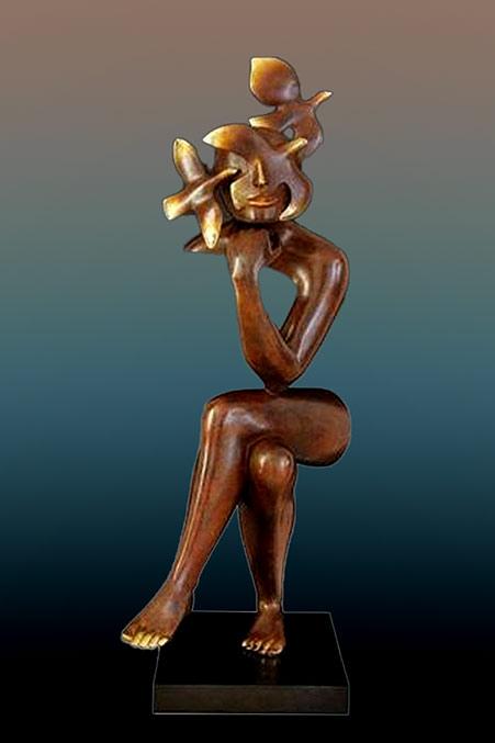 Etienne bronze sculpture - Esperance -- seated figure abstract